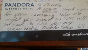 A thank you message from Rita at Pandora Internet Radio - written testimonials and reviews