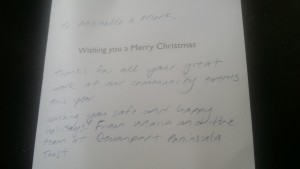 Thank you Christmas card from the Devonport Peninsula Trust - Testimonials and reviews