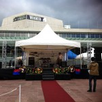 Covered Stage hire auckland setup for Duruje Festival in Aotea Square 7.2 by 6m, staging hire auckland, stage for a band
