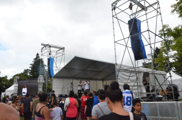 Line Array Loudspeakers - Concert PA hire - in hanging configuration for Waitangi Day concert 2016
