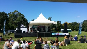 Our Large Covered Stage hire 7.2 by 6 with wings setup for music in parks 2016