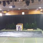 Drapes used to turn a school gym into a theatre setting