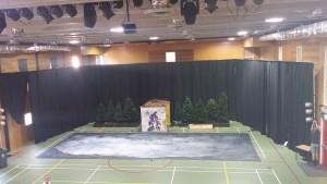 Drape hire used to turn a school gym into a theatre setting.