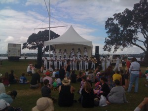 Band Touring PA system setup for dance in the park and Christmas parade in Devonport