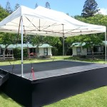 covered stage hire solution for your outdoor event 6m by 4.8m at 90 cm height, staging hire auckland, stage for a band