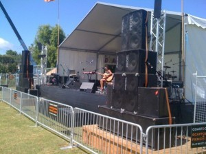 Ground stacked Concert PA hire at Coromandal Music Festival