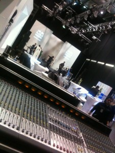 Band Touring PA system setup at Fashion week for sola rosa