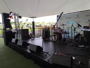 New Zealand Music Covers band hire, Shane Cortese and The 8 Track Band, PA setup at Ellerslie Racecourse, hire a band, hire a pa for a band,